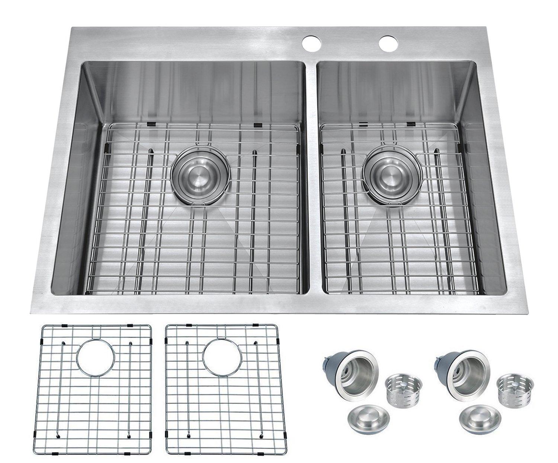 BILLION 33''x22''x10'' Inch 60/40 Double Bowl Drop-in Overmount 16 Gauge Handcrafted Stainless Steel Kitchen Sink, Topmount Sink With Bottom Grid & Drainer