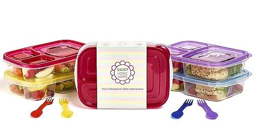 Daisy Homeware Juego de 6 fiambreras, ecológico, 3 compartimentos, varios colores, con cubiertos a juego, aptos para microondas y lavavajillas, ...