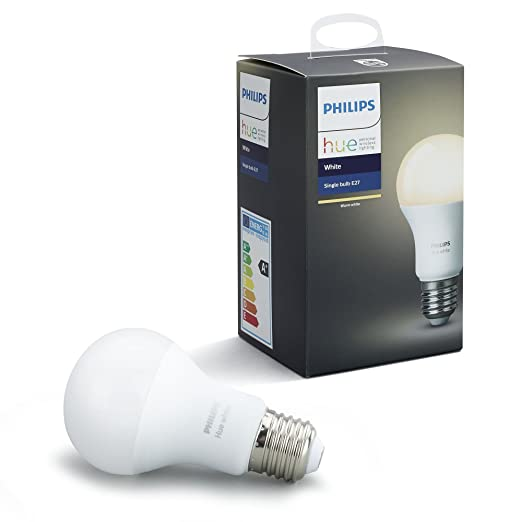 Philips Hue White E27 LED Lampe Erweiterung, dimmbar, warmweißes Licht, steuerbar via App