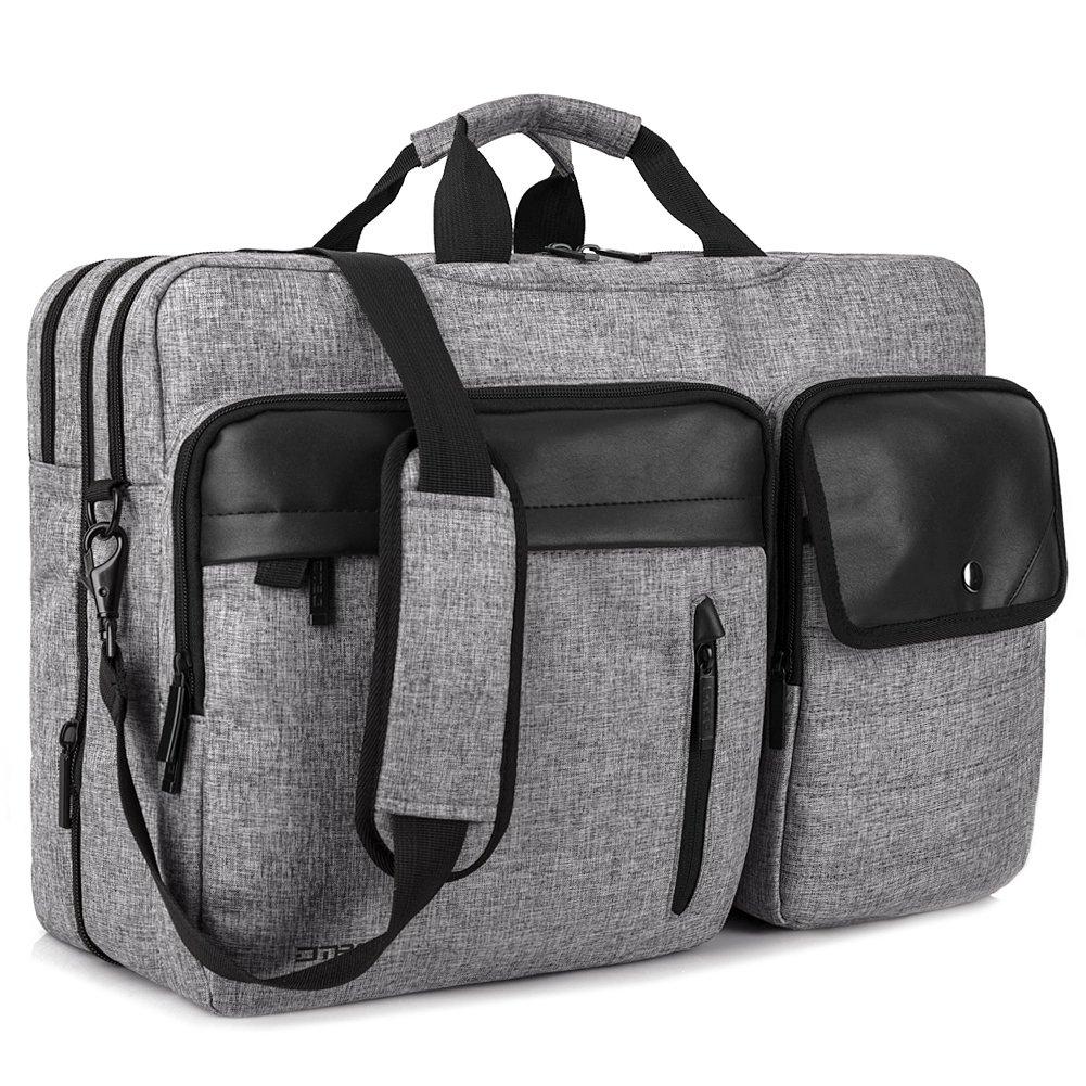 Laptop Menssenger Bag Backpack, DTBG Convertible Durable Roomy Business Laptop Bag Briefcase Computer Shoulder Bag Travel Bag Backpack Daypack for up to 17.3 inch Laptop/MacBook /Notebook, Grey BRINCH