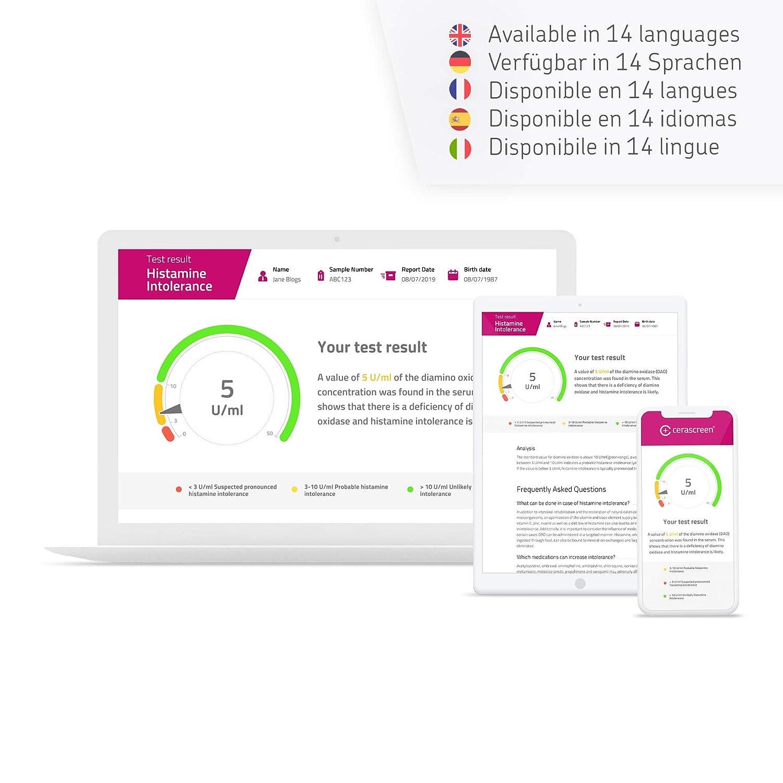 Kit para test de intolerancia a la histaminade de CERASCREEN - Fácil de hacer desde casa I Laboratorio certificado I Informe detallado de resultados