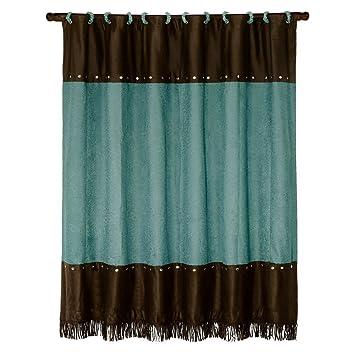 HiEnd Accents Cheyenne Western Shower Curtain  TurquoiseAmazon com  HiEnd Accents Cheyenne Western Shower Curtain  . Brown And Turquoise Shower Curtain. Home Design Ideas