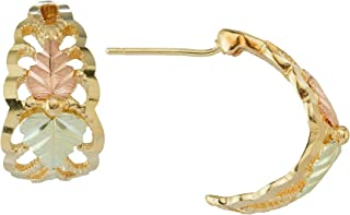 product image for Black Hills Silver Half Hoop Earrings with 12k Gold Leaf Accents
