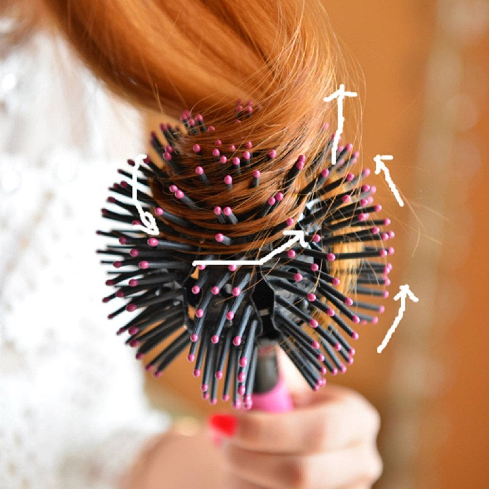 ixaer Hair Brush-3D Bomb Curl Brush Styling Salon Round Hair Curling Curler Comb Tool Pink Christmas Gift, Mother\'s Day Gift.