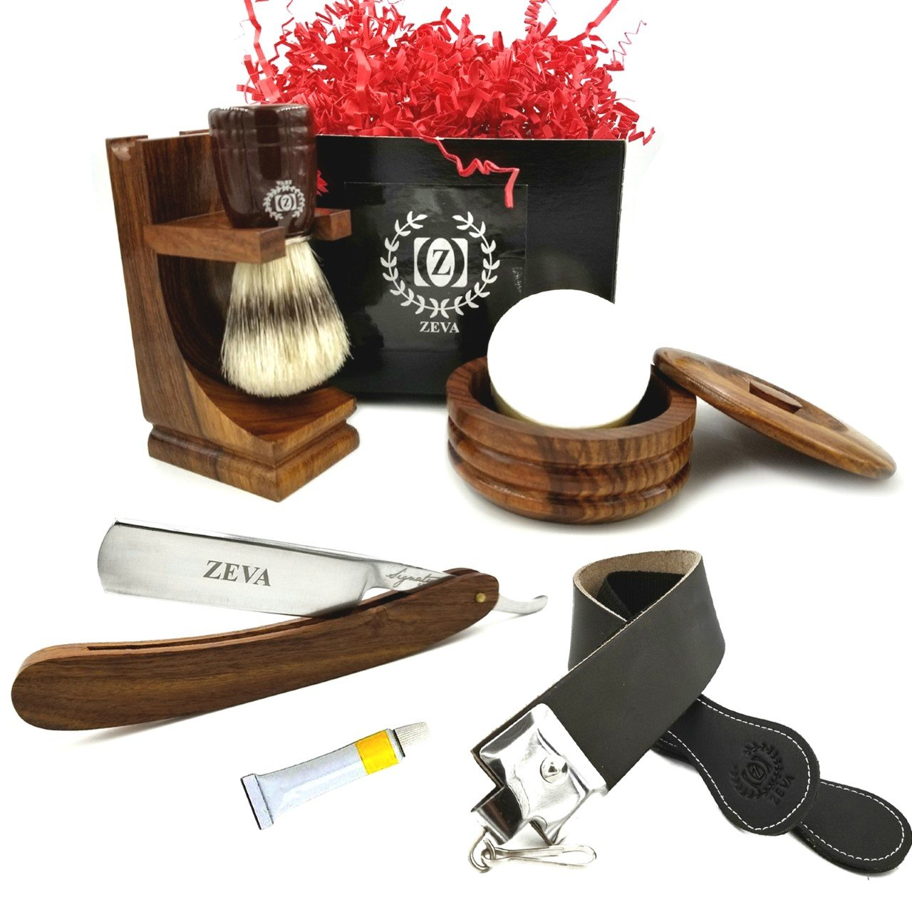 7 pcs Wood Straight Razor leather Strop Soap Dovo Paste Pure Badger Brush Shaving Stand Shave Ready Handcrafted Shaving Set