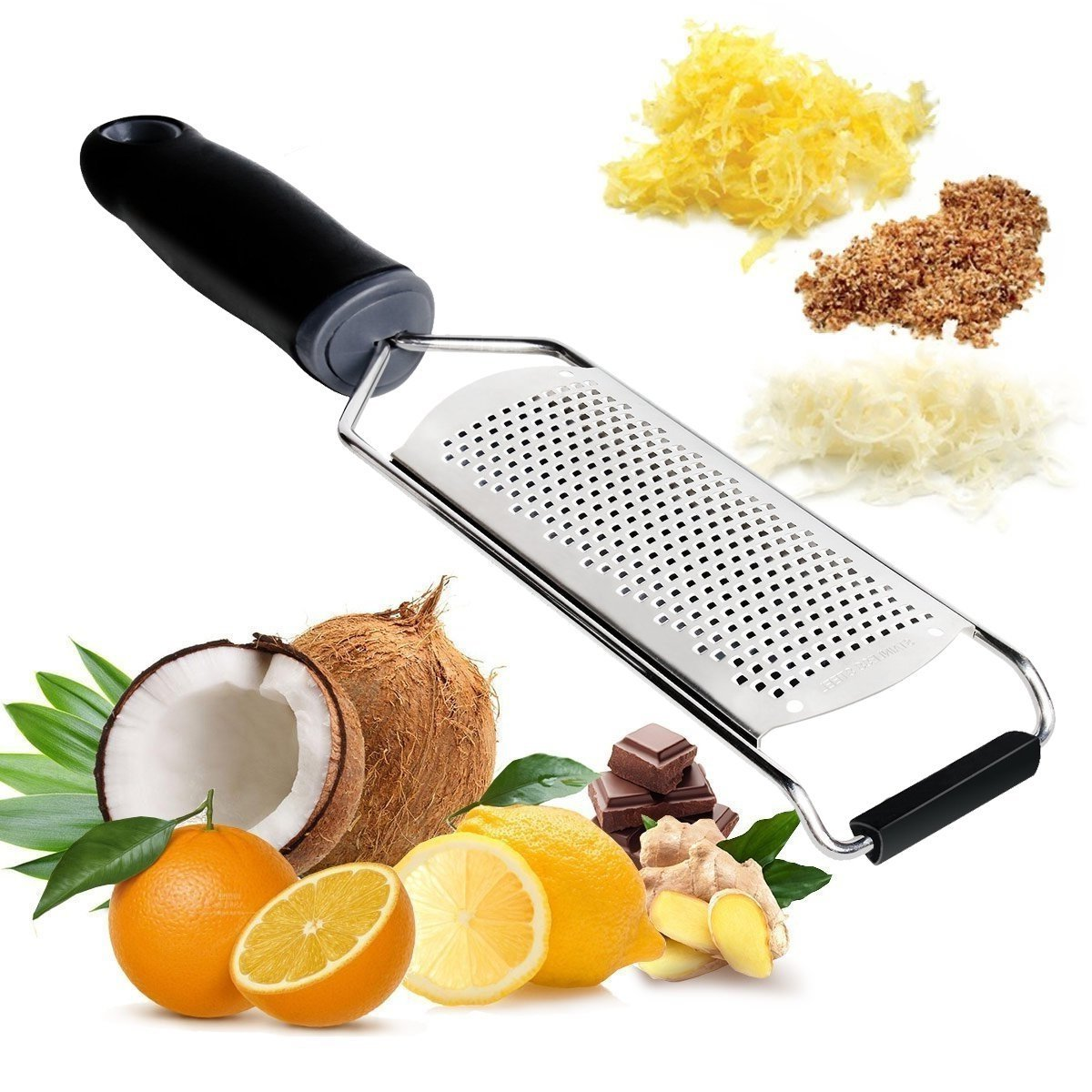 Eastshining 4335496706 Cheese Grater Zester with Protective Cover Professional Razor Sharp Blades Ideal for Kitchen Vegetable Chocolate Fruit Fine Zesting Supreme Stainless Black