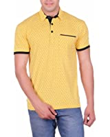 Vivid Bharti Men's Collar Pocket Yellow Printed Cotton T-shirt (Premium Quality T-Shirt)