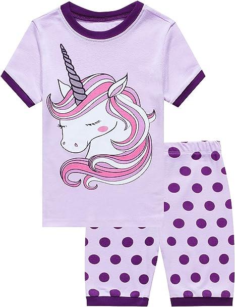 Little Girls Short Pajamas Mermaid Snug Fit Cotton Pjs Kids Summer Clothes Set