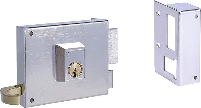 Yale 125120DHN Cerradura de Sobreponer Estándar 125. A Mano Derecha Caja 120mm Hierro Niquelado, Entrada 60 mm: Amazon.es: Bricolaje y herramientas