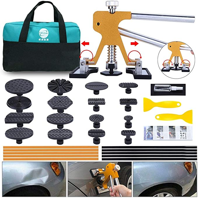 Iycorish Durable Paintless Car Dent Repair Hail Removal Tools Kit Tap Down Pen with 9 Heads Tools Set