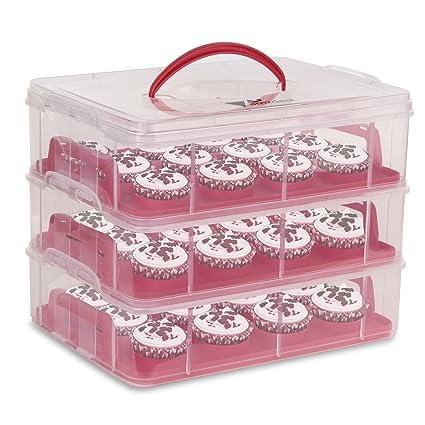 Amzdeal Caja para Tarta Plástico Cupcake Carrier con 3 Capas Portacupcakes para Transporta Cupcakes, Tarta