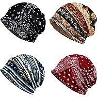 4 PCS Chemo Caps, Womens Baggy Slouchy Beanie Hat Sport Casual Headwear Wide Headbands Scarf Sleep Chemo Slouchy Snood…