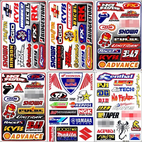 Graphic Racing Sticker Decal Motocross ATV Dirt 6 Sheets - Atv Racing Stickers