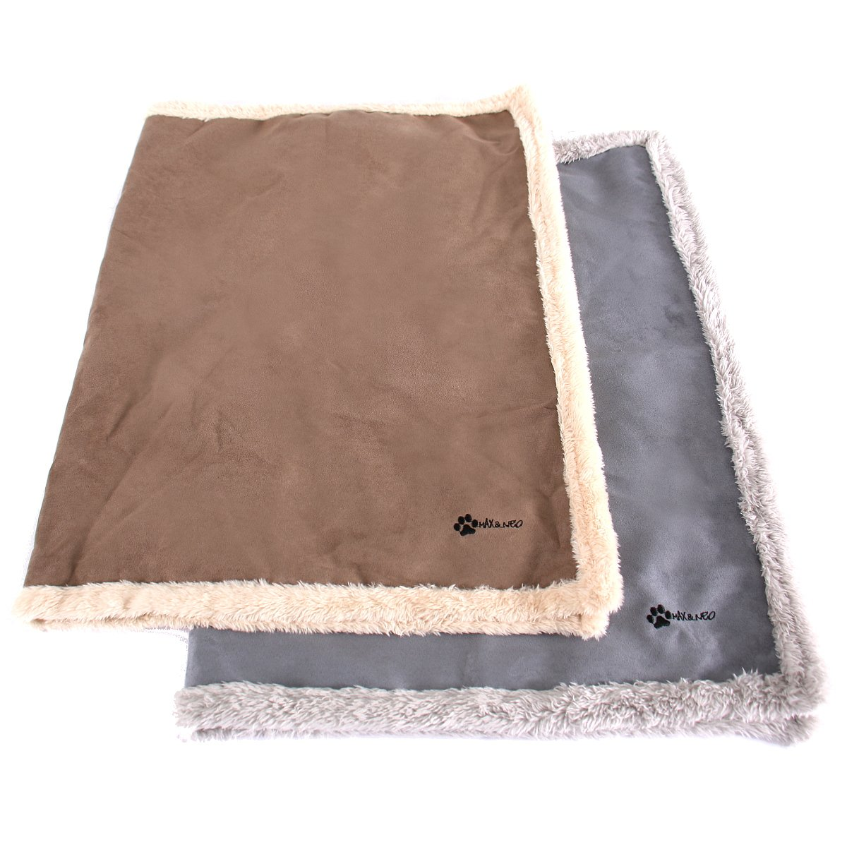 Max and Neo Faux Suede Fleece Dog Blanket - One Side Soft Furry Fleece, One Side Faux Suede - We Donate a Blanket to a Dog Rescue for Every Blanket Sold (LARGE, BROWN)