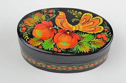 Caja de carton piedra artesanal decorada decoracion de interior joyero original