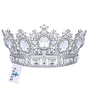 FUMUD White Rhinestone Gold Wedding Bridal Hair Accessories Tiara Crown  Queen Crown Pageant Prom Headband 3.9 e8972c4c1dab