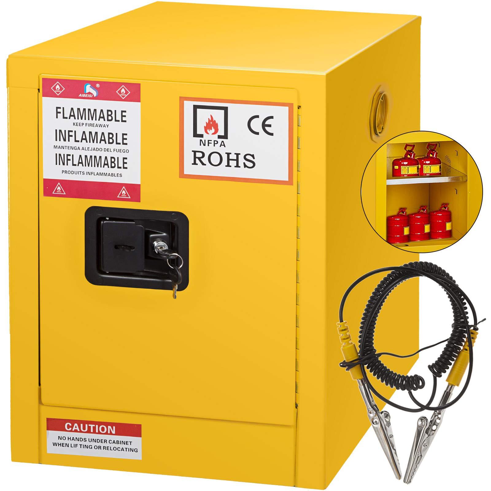 Mophorn Flammable Cabinet Galvanized Steel 1 Door Safety Cabinet 4 Gallon 17'' Length x 22'' Height x 17'' Width Adjustable Shelf Flammable Storage Cabinet for Flammable Liquids (17'' x 22'' x 17'', Yellow)