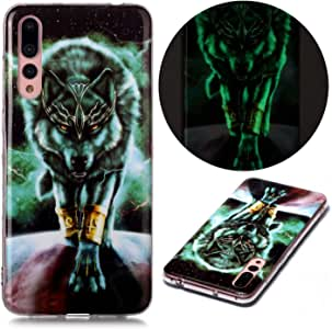Mylne Luminous Effect Back Case Cover for Samsung Galaxy A70,Noctilucent Glow in the Dark Green Soft Slim TPU Gel Flexible Bumper,Angry Wolf