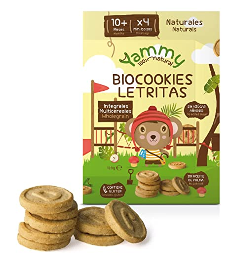 Yammy - Galletas Sin Azúcar Ecológicas Mini Letras 12 Meses Pack 6 x 120 gr -