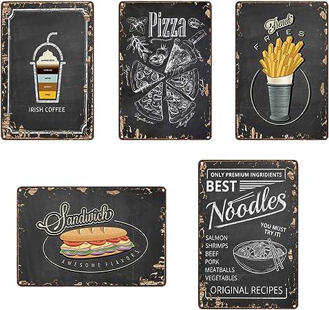 Pizza Zone Metal Signe Bar Decoration Murale Etain Signe Vintage