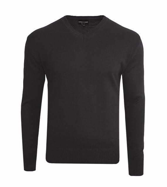 f06e6b0afa85 Emporio Armani Pullover Herren V-Neck Sweater logo einfarbig unten links  blau schwarz grau verschiedene