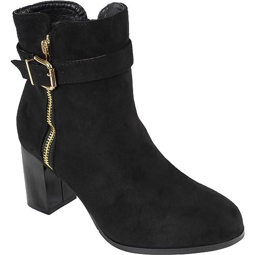 BeMeesh Zapatos Mujer Tipo Botines con Cremallera Lateral con Tacón: Amazon.es: Zapatos y complementos
