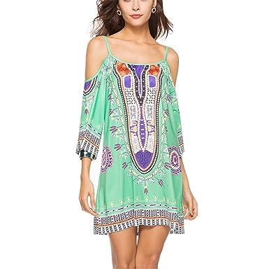 820ce97e7c3 NEW Summer Sleeveless Spaghetti Strap Slash Neck Print Casual Beach Dress  Style One M