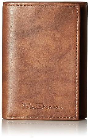 d0b09bcf2b45 Ben Sherman Manchester Men s Full Grain Marble Leather Trifold Wallet in  Brown