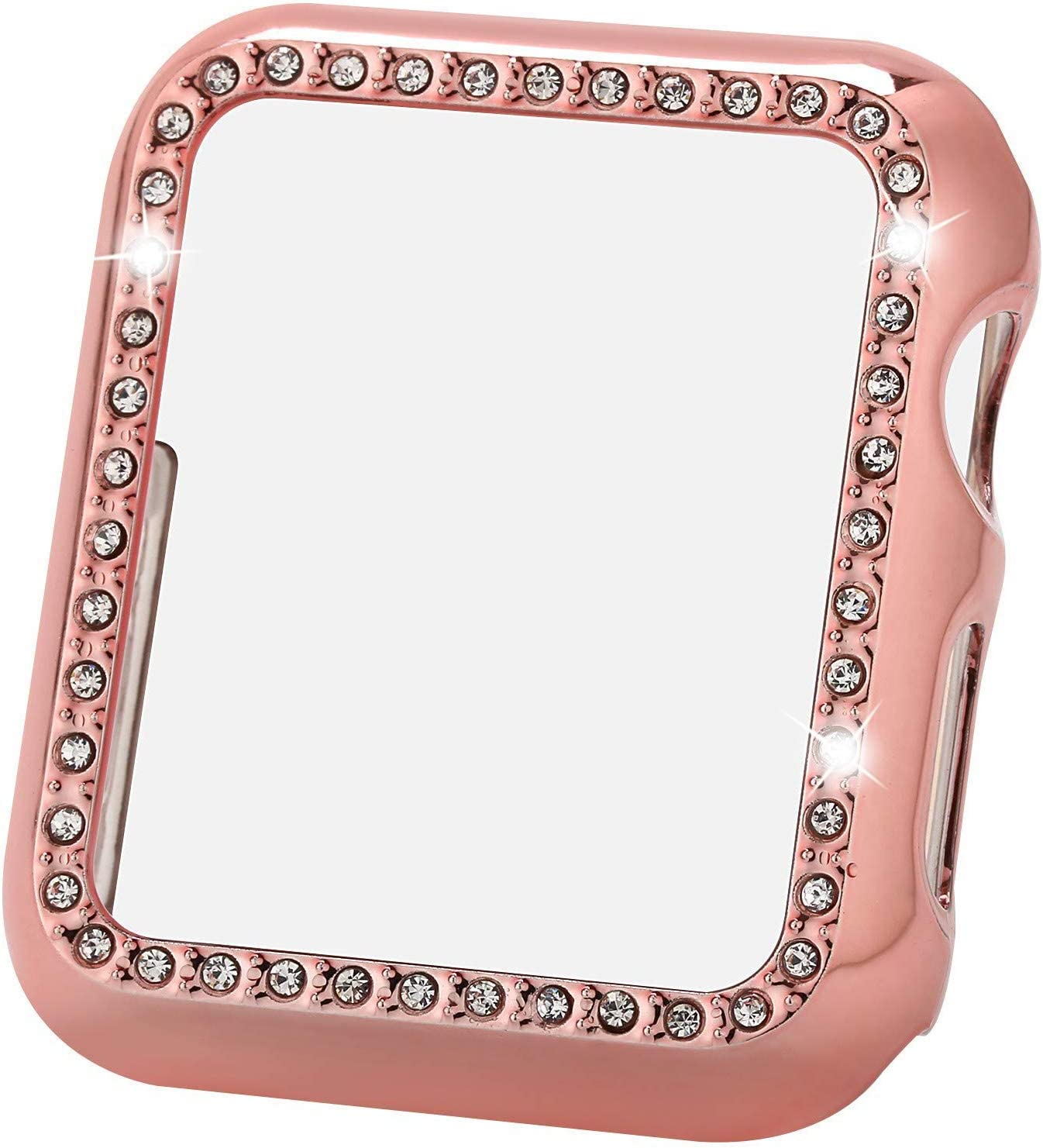 Greaciary Bling Case Compatible for Apple Watch 38mm,Sparkle Crystal Diamonds Shiny Rhinestone Bumper,Electroplated PC Hard Protective Frame for Apple Watch 3/2/1 Women(Rhinestone-Rose Pink