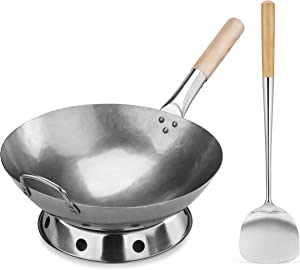New Star Foodservice 1028720 Carbon Steel Pow Wok Set with Wood and Steel Helper Handle, Hand Hammered, Includes 14