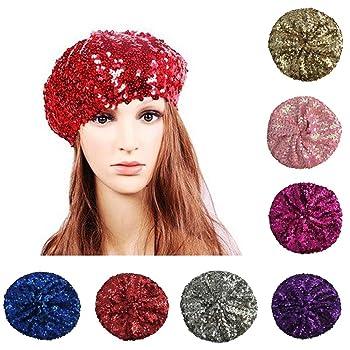 Fashion Women Bright Beret Sequin Beanie Hat Cap Girls Vintage Classic Shining Headwear