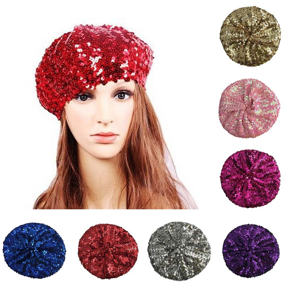 Hippie Hats,  70s Hats ACTLATI Fashion Women Bright Beret Sequin Beanie Hat Cap Girls Vintage Classic Shining Headwear $9.99 AT vintagedancer.com