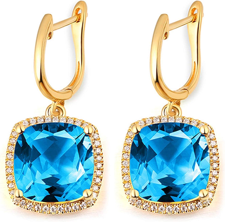 AueDsa Pendientes Azul Oro Pendientes Oro Amarillo 18k Mujer Cuadrado Cojín Topacio Azul Blanco 10ct