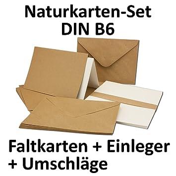 Kraftpapier Karten Inklusive Briefumschläge U0026 Einlegeblätter | 50er Set |  Blanko Recycling Einladungskarten In