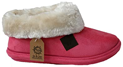 6da0c33145b3 Image Unavailable. Image not available for. Colour  Jo   Joe Ladies chiltern  Fur Lining Fur Collar Low Top Warm Lined Winter Boot Slipper