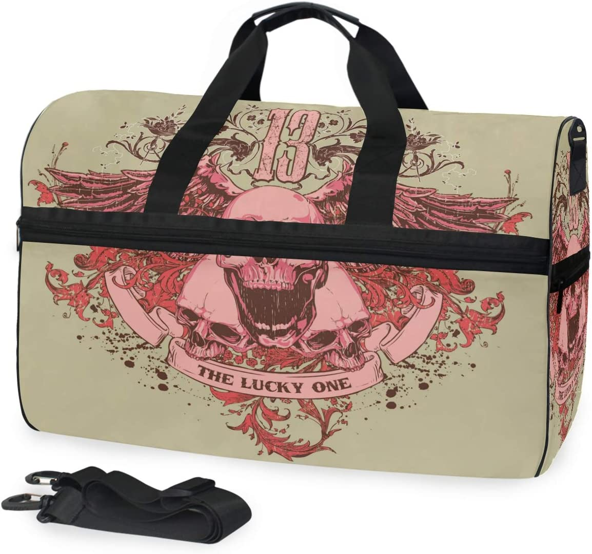 FANTAZIO Pink Skull With Wings Sports Bag Packable Travel Duffle Bag Lightweight Water Resistant Tear Resistant