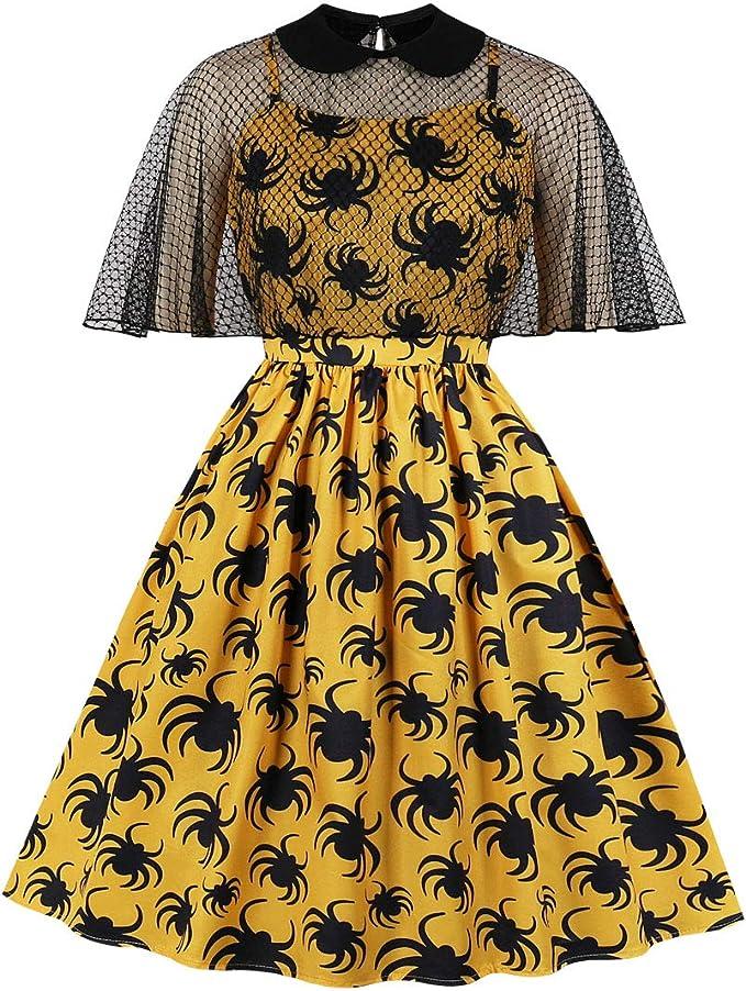 Easy Retro Halloween Costumes – Last Minute Ideas Wellwits Womens 2pcs Lace Cloak Net Spider Halloween Vintage Dress  AT vintagedancer.com