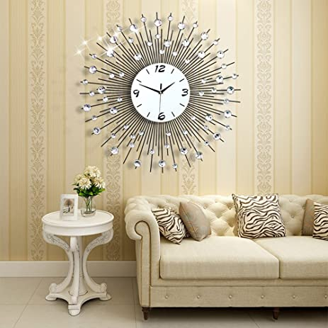 NEOTEND 3D Wall Clock 64pcs Diamonds Decorative Diameter 256quot