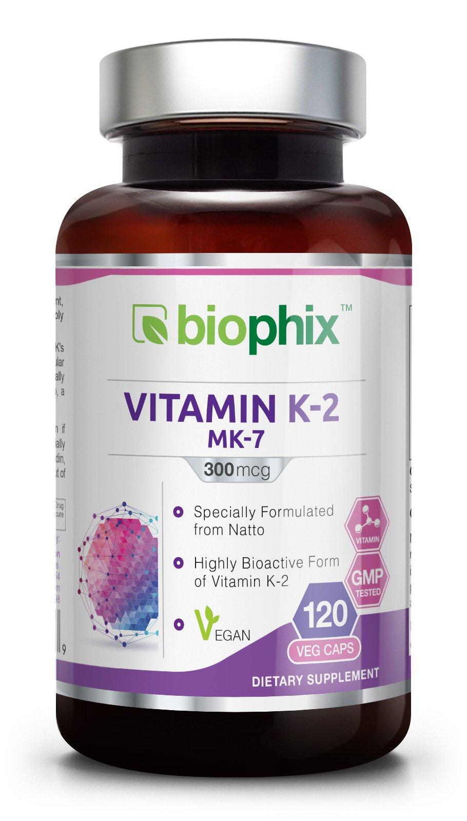 Vitamin K2 MK-7-300 mcg 120 Vcaps - High-Potency | Strong Bones | Immune Health | Support for D3 by biophix