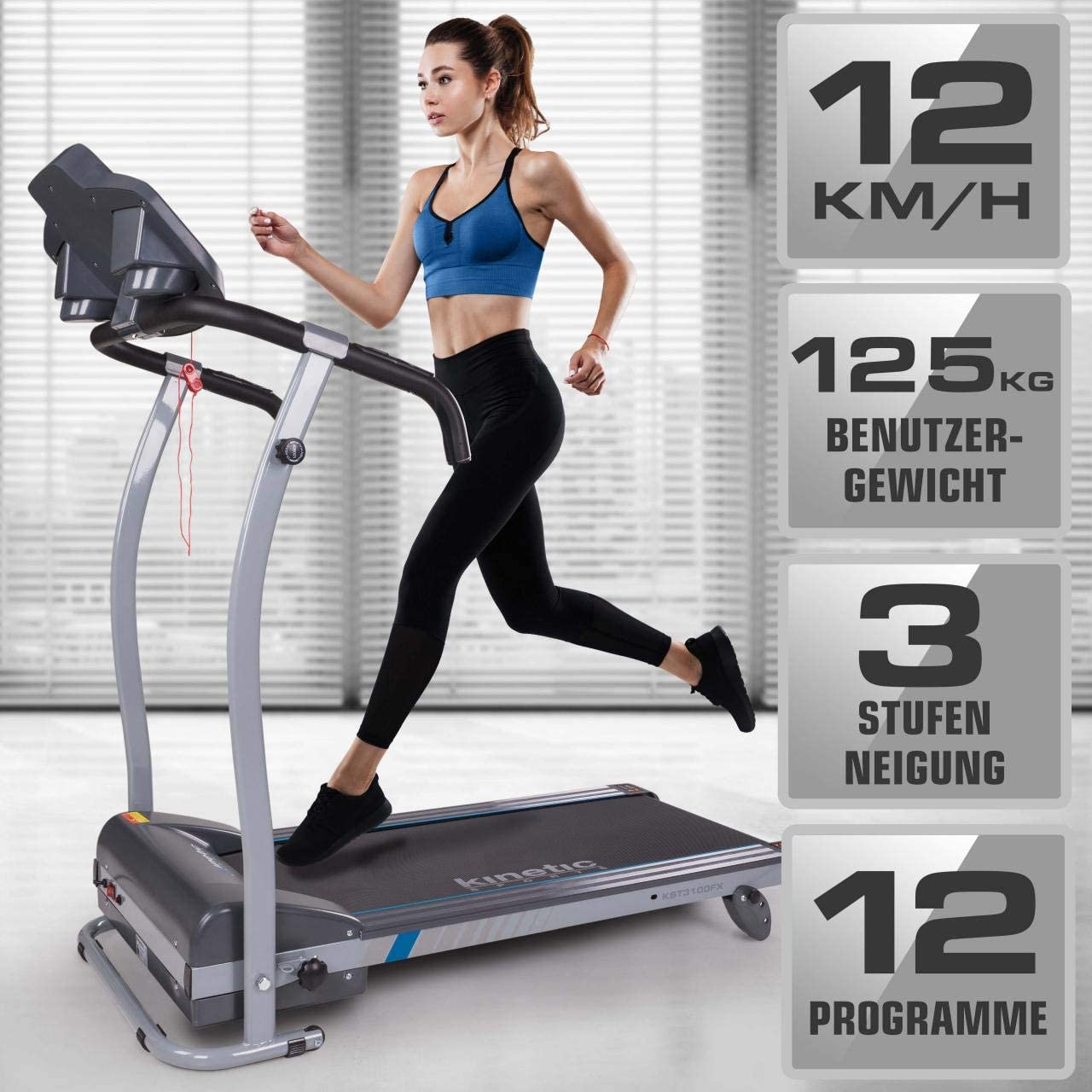 Kinetic Sports Laufband inkl klappbar Tablethalterung stufenlos einstellbar bis 12 km//h Pulsgurt 1100 Watt leiser Elektromotor 12 Pogramme GEH- und Lauftraining