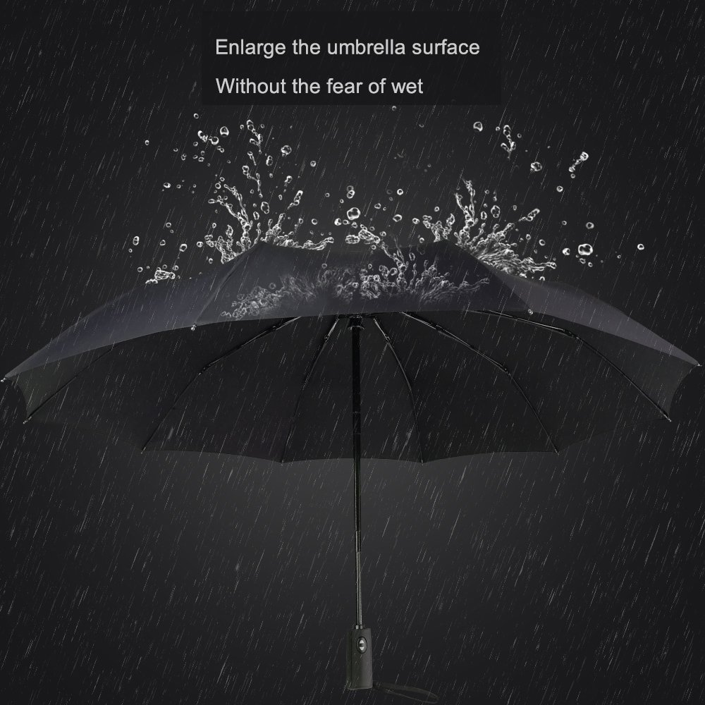 wingold Windproof Travel Umbrella - Compact One-Handed Auto Open/Close (dark red)