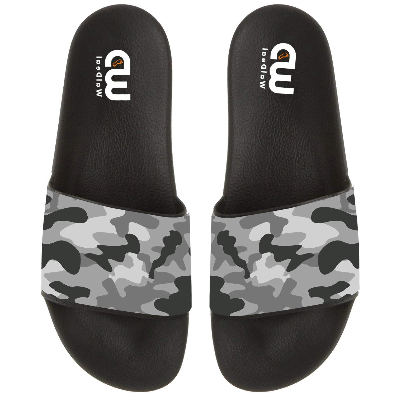 Military Camouflage Black Grey Summer Slide Slippers For Men Women Kid Indoor Open-Toe Sandal Shoes