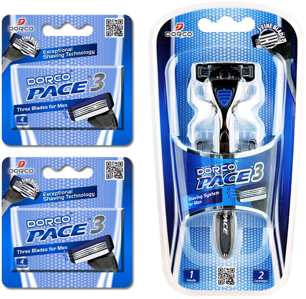 Dorco Pace 3- Three Razor Blade Shaving System- Value Pack (10 Cartridges + 1 Handle)