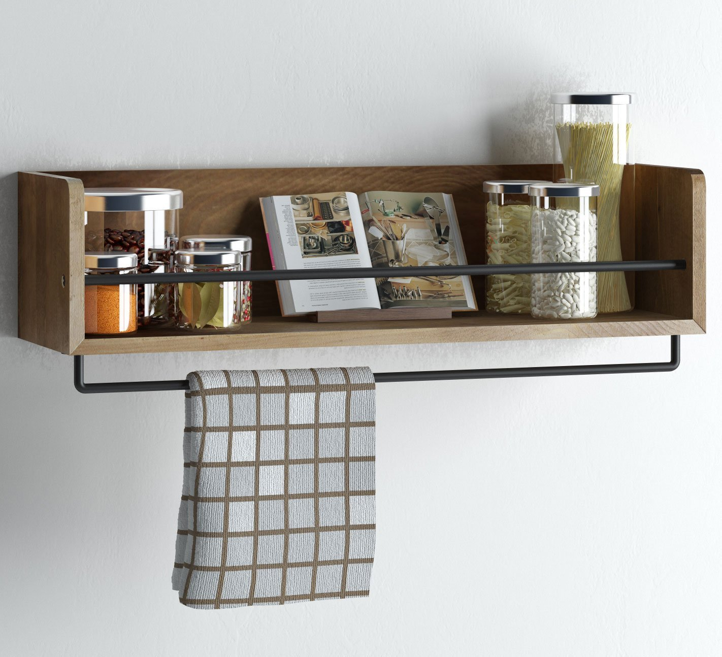 Amazon.com: Rustic Kitchen Wood Wall Shelf With Metal Rail Also Multi Use  Can Be Used As A Spice Rack Living Room Or Bedroom Wall Shelf , Walnut  Stained (20 ...
