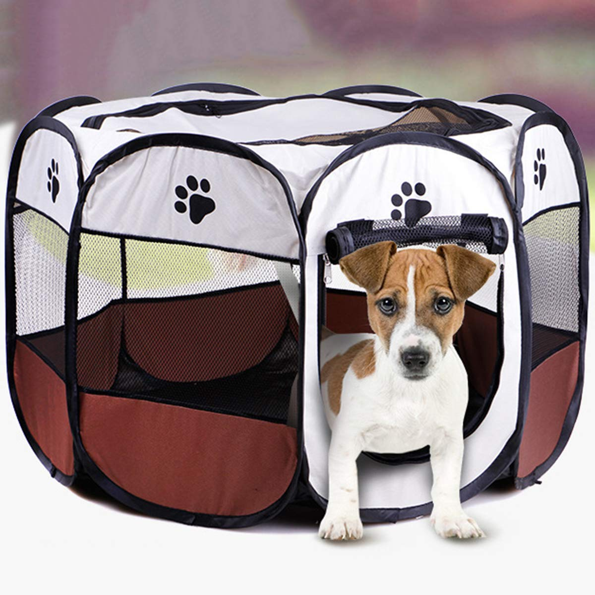 Foldable Washable Pet Tent Dog House Puppy Cat Cage Kennel Octagonal Fence Home Outdoor Supplies