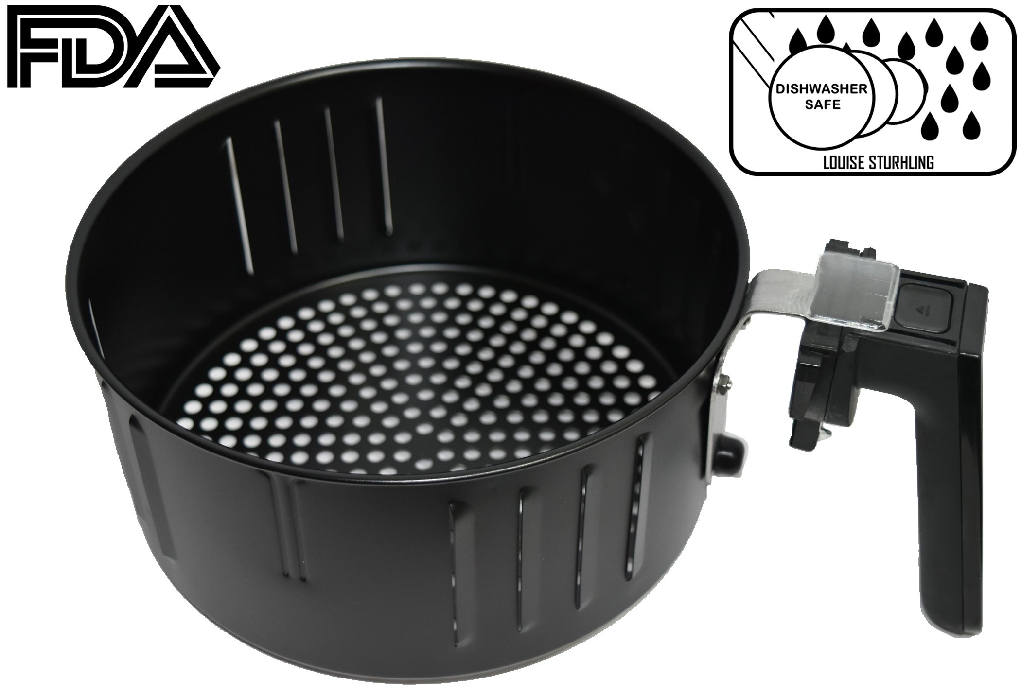 3.5 L Air Fryer Replacement Basket, COMPATIBLE with LOUISE STURHLING, DELLA, POWER AIR FRYER, SIMPLE CHEF, COZYNA, GOWISE, COSTZON, BEST CHOICE PRODUCT, AVALON BAY, XTREMEPOWER, BLUSMART, ENSUE & MORE