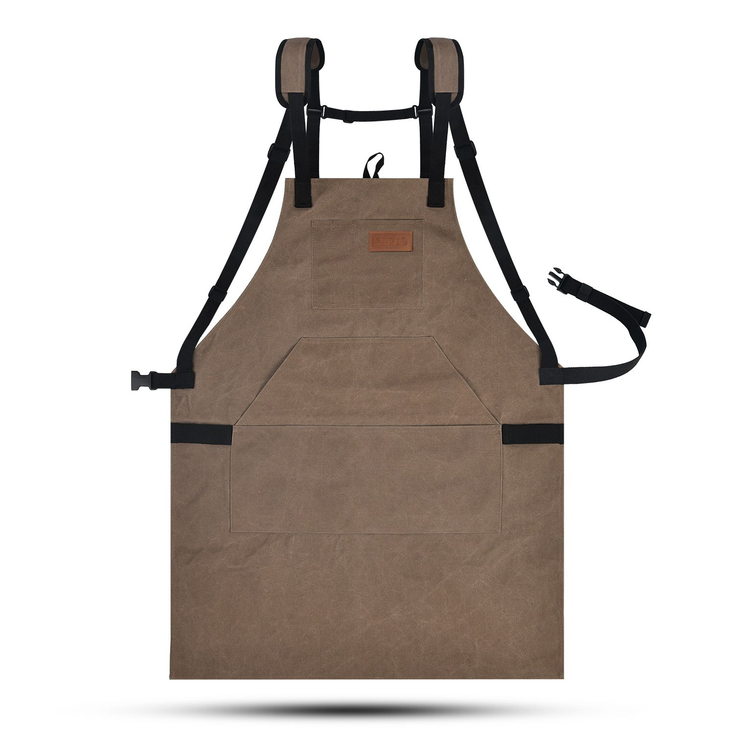LURAD Tool Apron Waterproof with Waist Adjustments Padded Shoulder Strap Workshop Apron with Pockets for Men & Women-Brown
