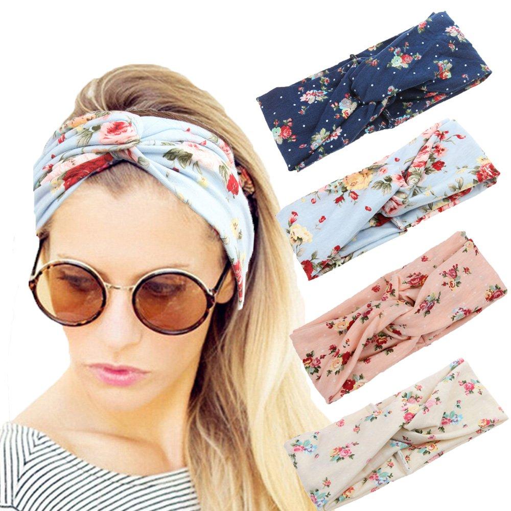 4 Pack Women Elastic Turban Head Wrap Headband Twisted Hair Band Cute Hair Accessories H1 (4 Color Pack B)