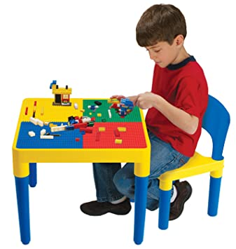 Nice Kids Only Block Builders Construction Table With 1 Chair And 100 Building  Blocks