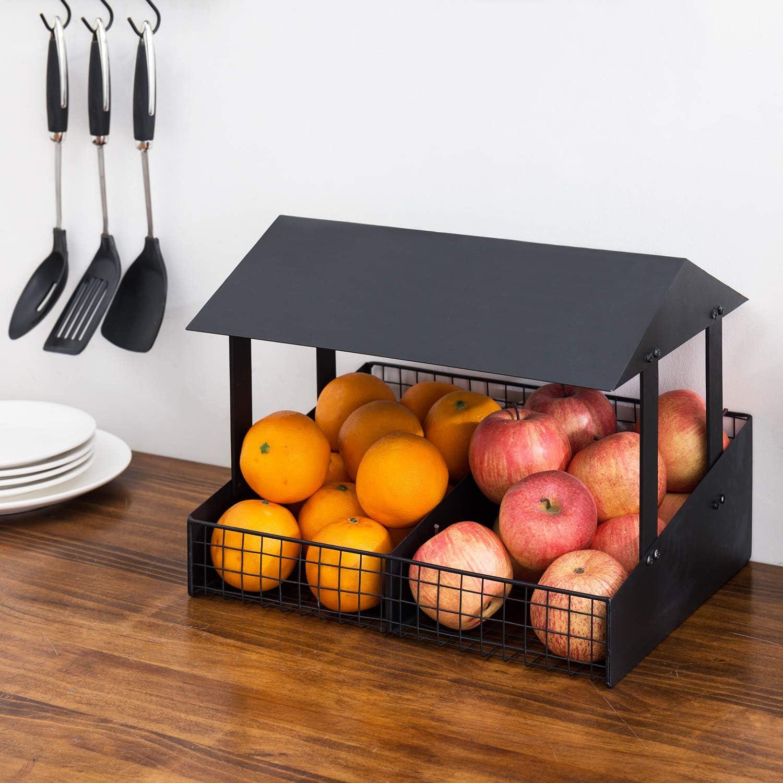MyGift 2-Slot Rustic Black Metal Fruit Stand Style Design Tabletop Food Produce Storage Basket Display Rack